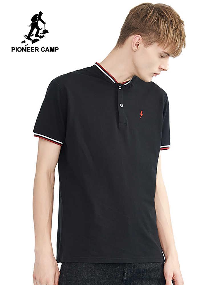 Polos de verano de color contraste de campo Pioneer para hombre, Polos de cuello de bordado de marca para hombre de algodón puro ADP802145