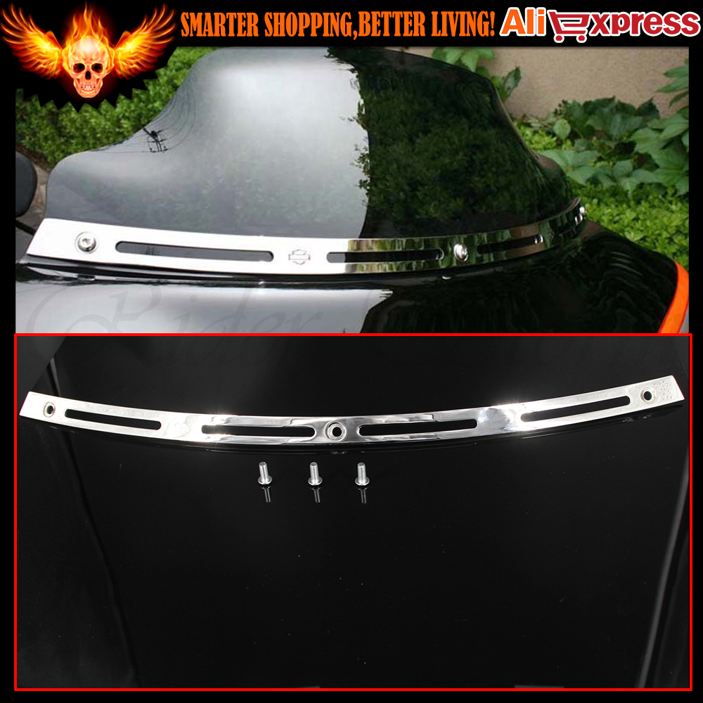 ФОТО New Motorcycle Chrome Slotted Batwing Fair Windshield Windscreen Trim Fits  For HARLEY TOURING/BAGGER MODELS - Batwing 1996-2013