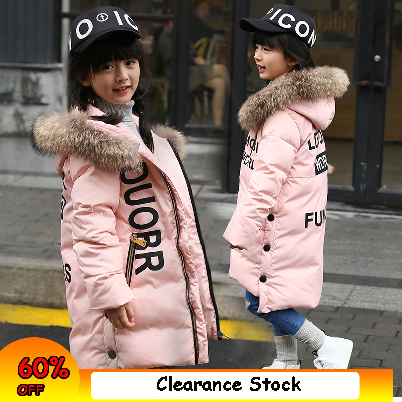 Fur Hooded Girls Winter Coats And Jackets Outwear Warm Long Down Jacket Kids Girls Clothes Children Parkas Baby Girls Clothing