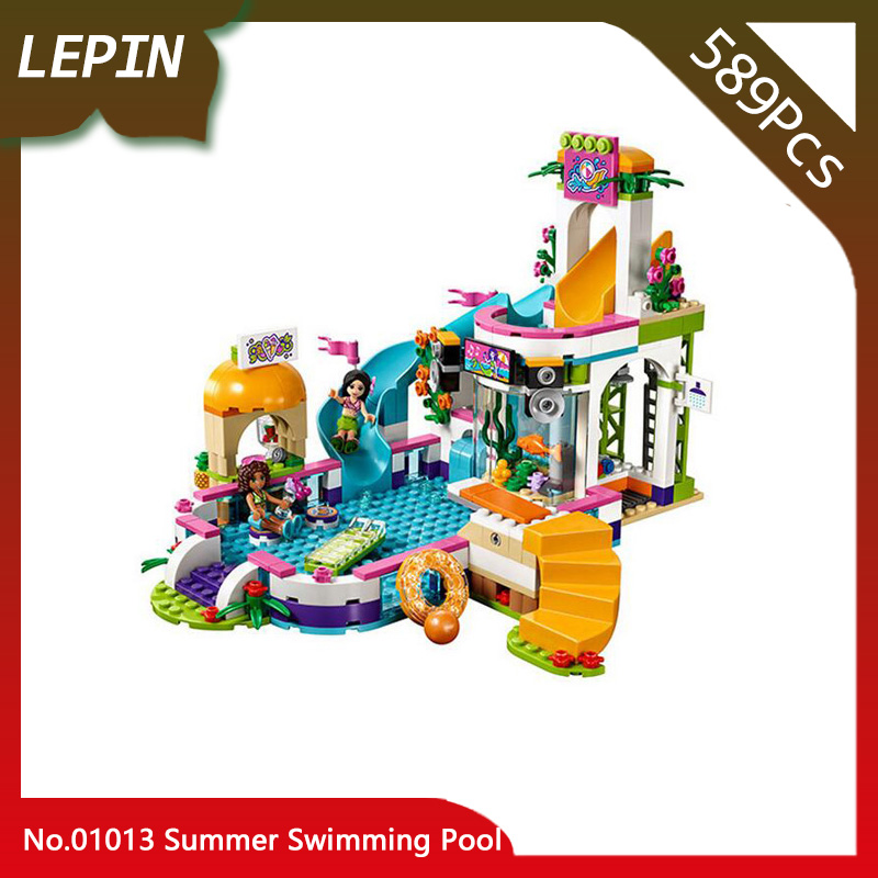 01013 Building Blocks Compatible Legoes Friends Summer Swimming Pool 41313 Model 589pcs Educational Toys For Children Gifts lepin building blocks model 01013 compatible legoing friends summer swimming pool 41313 educational toys for children