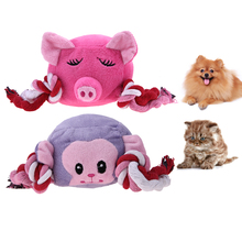 Soft Cute Animal Stuffed Plush Sound Toys Resistance To Bite Playable Cartoon Pig Shape Sound Squeaker Play Toy Pet Supplies