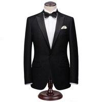 Custom Made Men Suit For Wedding Black Wool Stylish Tuxedos Suit Set Slim Fit Business Attire Casual Men Dress Suits