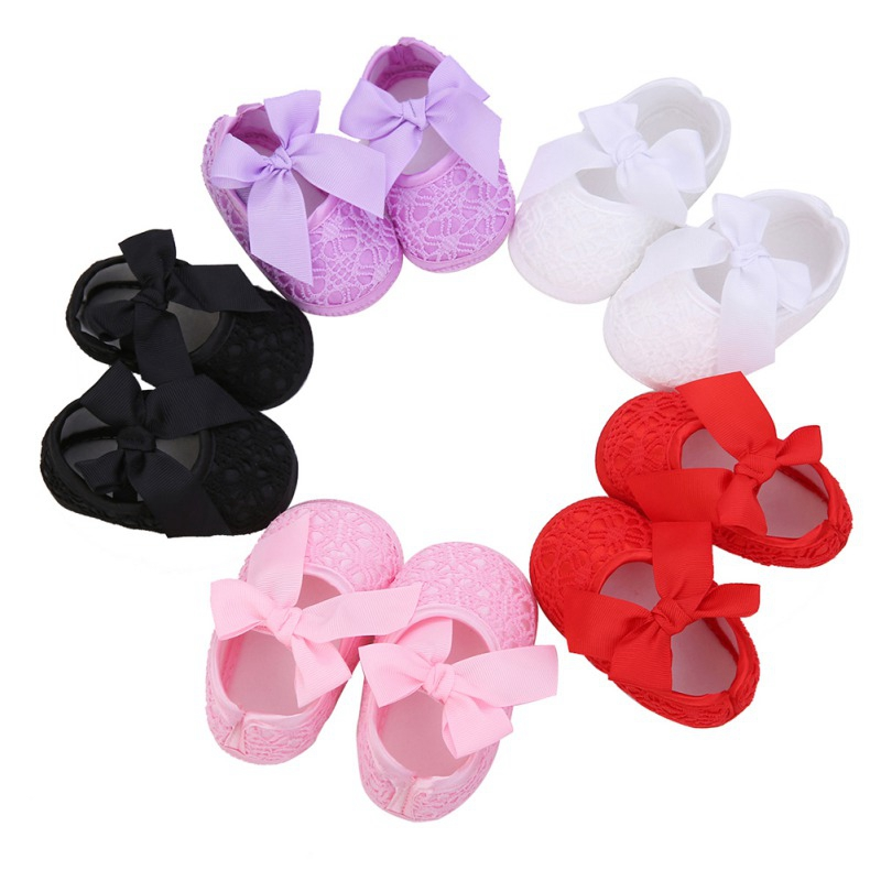 Lace Elastic Band Anti-slip Baby Girl Breathable Anti-Slip Shoes With Bowknot Casual Sneakers Toddler Soft Soled First Walkers