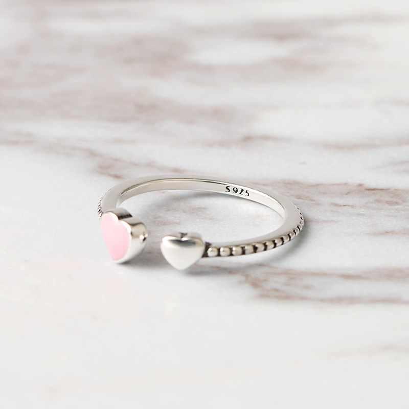 ใหม่แฟชั่นเครื่องประดับคริสตัลคริสตัลเงิน 925 Swarovskis ที่เรียบง่ายป่าเล็กๆน้อยๆรักเปิดแหวนผู้หญิงผู้หญิงวันแม่