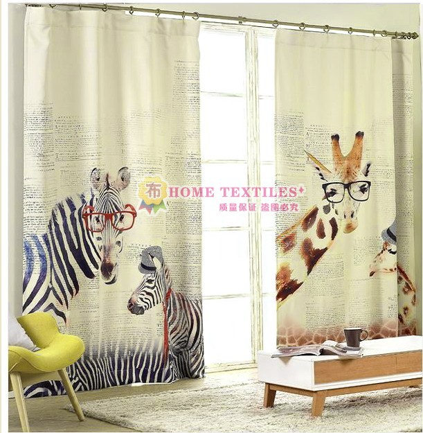 2016 New Fashion The Nordic Style Green Blackout Curtains Children's Bedroom Cartoon Giraffe Zebra Curtains Customized