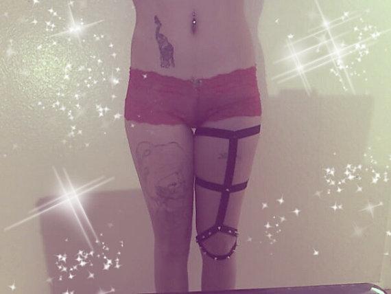 Hot rave wear pastel goth garter Suspender Belt Spiked Knee Brace Leg Garters women bust bondage retail