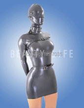 2015 New Latex Short Dress contains hood  full cover with bands Plus Size Customizable 100% latex natural