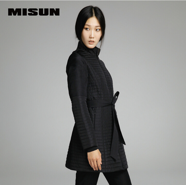 MISUN 2017 winter jacket women adjustable waist medium-long wadded stand collar outerwear pleated epaulet cotton-padded parkas