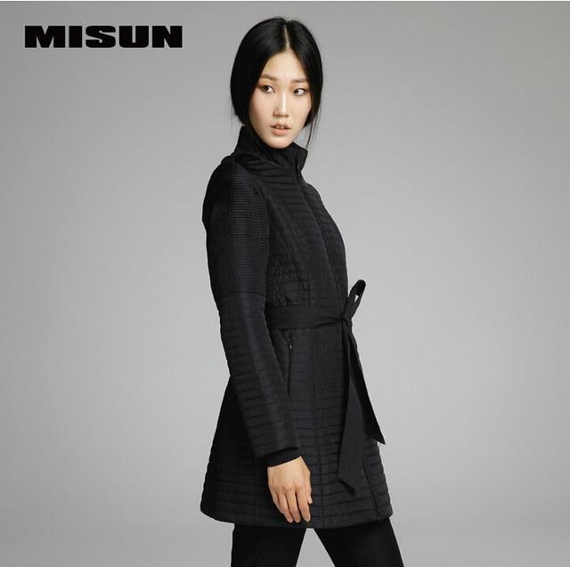 Misun 2017 chaqueta de invierno de las mujeres wadded collar del soporte ajustable de la cintura medio-largo prendas de vestir exteriores plisada charretera de algodón acolchado parkas