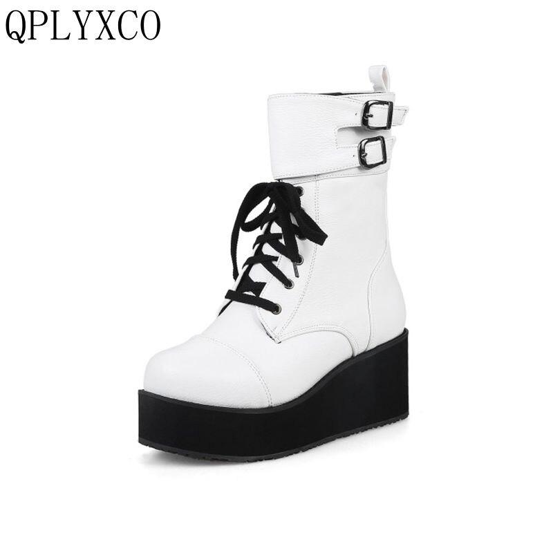где купить QPLYXCO fashion lace up short boots Big Size 34-43 Russian Winter plush thickness bottom martens Boots warm Women shoes 705-1 по лучшей цене
