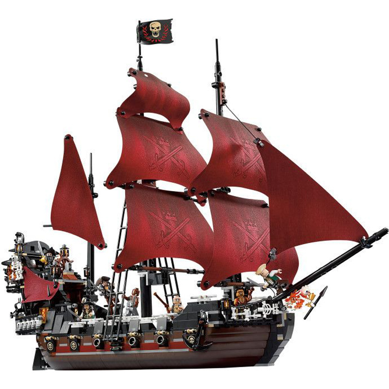 Models building toys & hobbies 16009 Queen Anne's revenge Pirates of the Caribbean Building Blocks Compatible with lego 4195 2017 new toy 16009 1151pcs pirates of the caribbean queen anne s reveage model building kit blocks brick toys