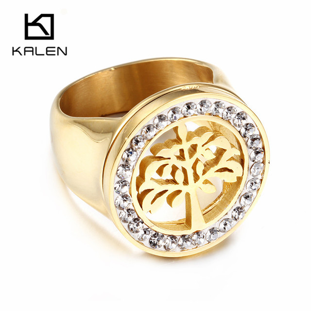 Kalen Women Fashion Rings Stainless Steel Gold Color Tree of Life Rhinestone Round Ring For Engagement Party Jewelry Accessories