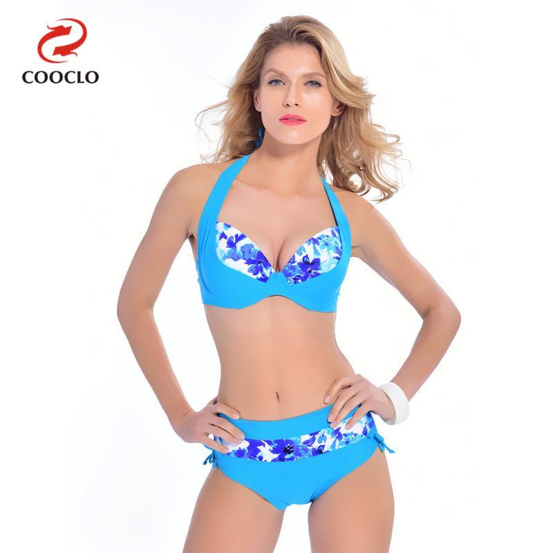 COOCLO 2019 Plus Size Sexy Bikinis Set Women Swimwear Halter Floral Large Size Beach Wear Bathing Suits Vintage Swimsuit XXL-6XL