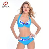 COOCLO 2019 Plus Size Sexy Bikinis set Women Swimwear Halter Floral Large Size Beach Wear Bathing Suits Vintage Swimsuit XXL 6XL