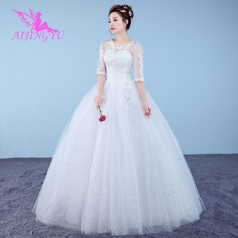 AIJINGYU 2018 Beautiful Free Shipping New Hot Selling Cheap Ball Gown Lace Up Back Formal Bride Dresses Wedding Dress WK628
