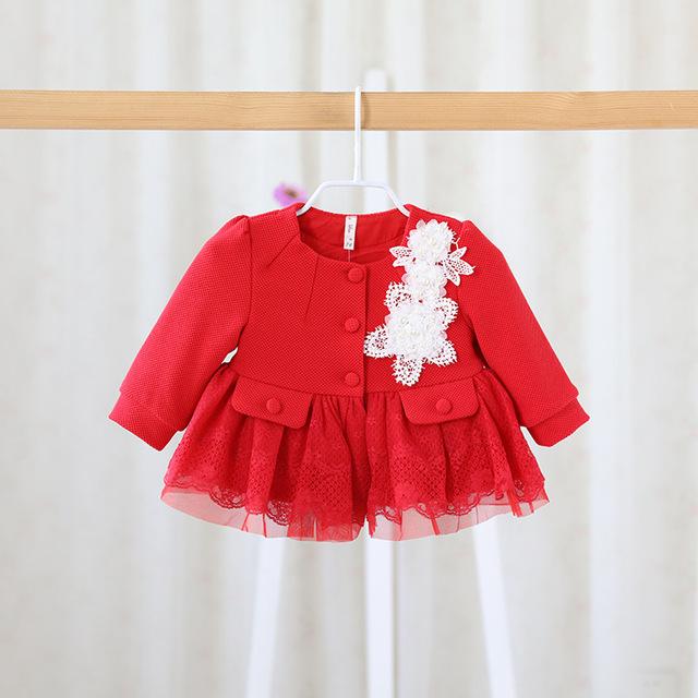 A queda de 2016 Novos Meninas Doce casaco infantil crianças princesa no longo jaqueta de renda cardigan meninas roupas dot bebê