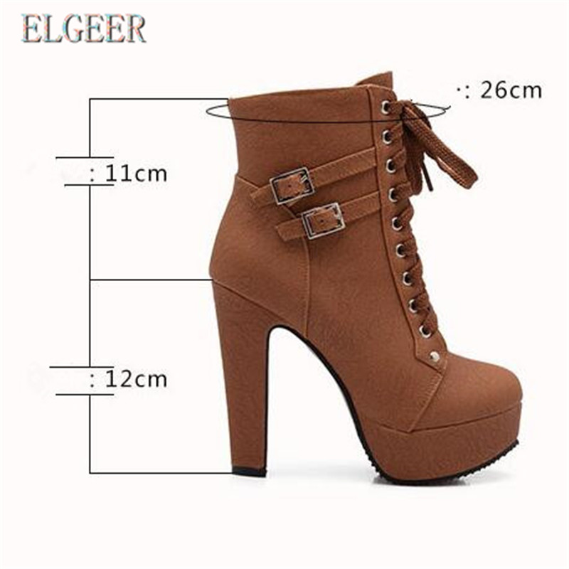 Ankle Boots For Women Female High Heels 2018 Lace Up Autumn Shoes Woman Buckle Platform Short Boots Plus Size 34 41 in Ankle Boots from Shoes