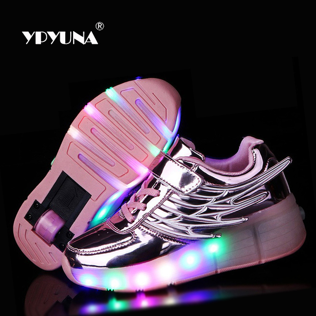 Size 28-37//  2016 shoe led children's light Up Luminous Glowing Roller Skate Shoes Kids Sneakers With One Wheels Girls&Boys