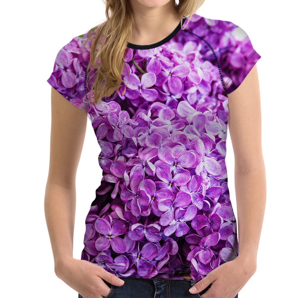 FORUDESIGNS Lilac Tee Women 3D Flower T Shirt Slim All