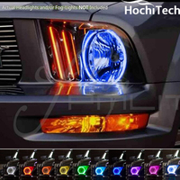 For Ford Mustang 2005 2006 2007 2008 2009 RGB LED headlight rings halo angel demon eyes with remote controller