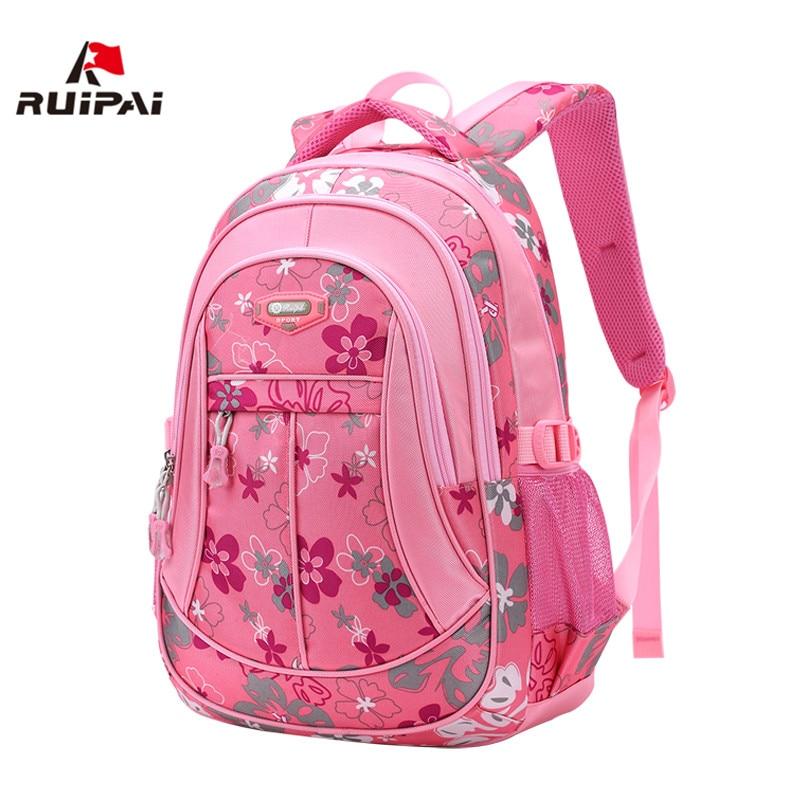 RUIPAI Nylon Primary Children Backpacks Kids Kindergarten School Bags Cute Printing School Bags For Girls Orthopedic Backpacks