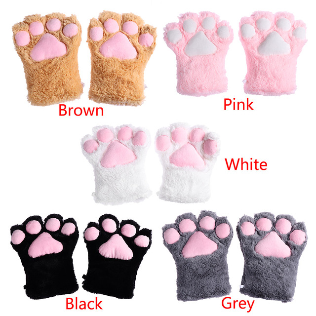 New 1 Pair Cute Plush Cat Kitten Paw Gloves Anime Cosplay Cat Claw