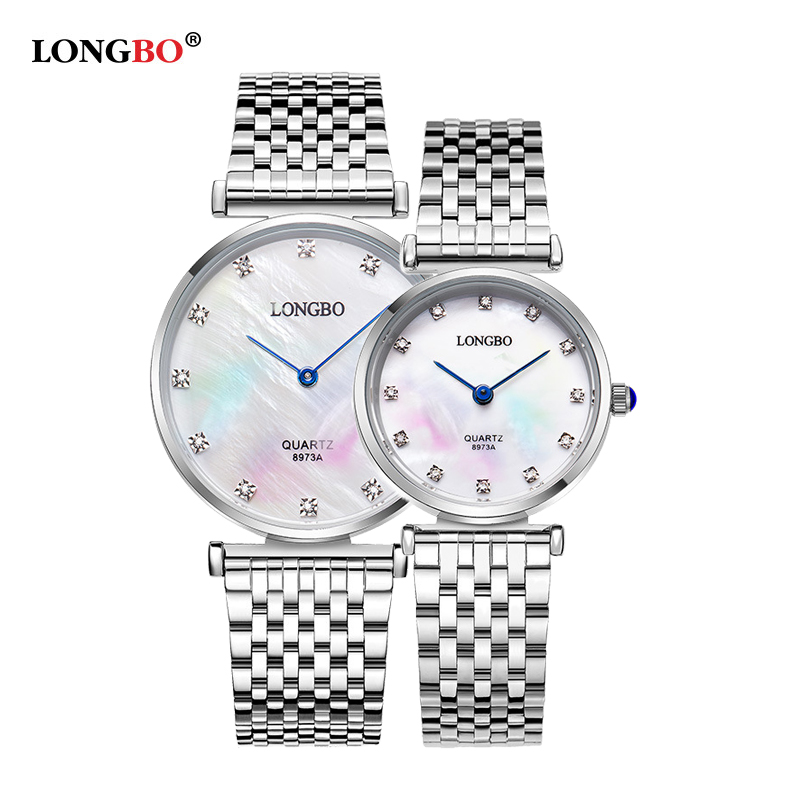 LONGBO Couples Watches Classic Business Stainless Steel Waterproof Quartz Women Men Lovers Watch Wristwatches