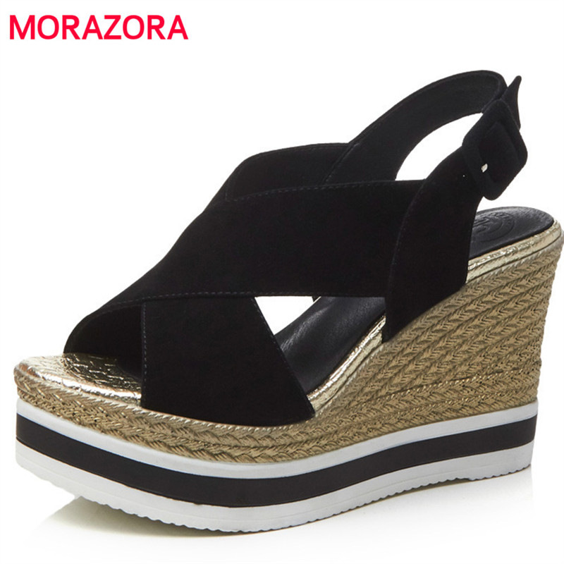MORAZORA Platform shoes in summer wedges high heels shoes 10cm kid suede leather shoes fashion solid buckle women sandals party 2017 suede gladiator sandals platform wedges summer creepers casual buckle shoes woman sexy fashion beige high heels k13w