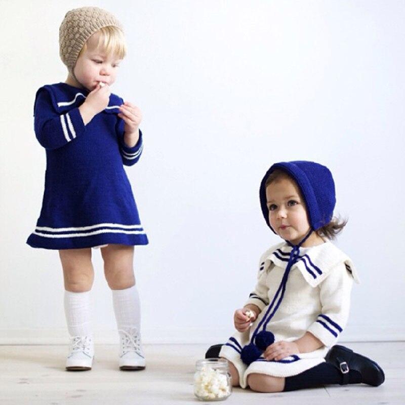 2019 Høst Jenter Sailor Genser Kjole Genser Småbarn Jenter Jumper - Barneklær