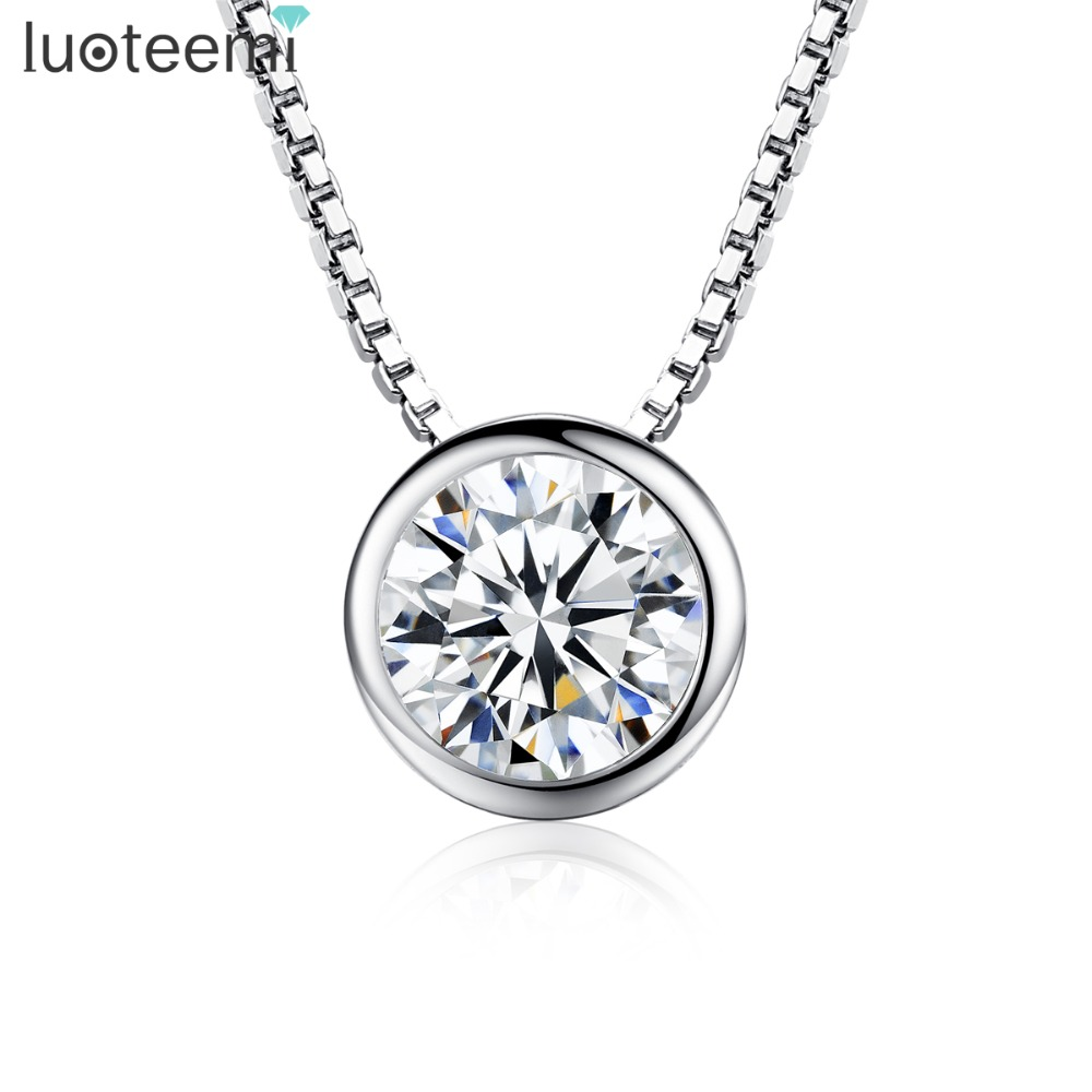 LUOTEEMI High Quality 1 Carat Single Clear Cubic Zirconia S9