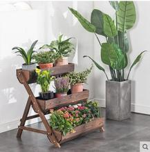Three-layer potted flower shelf balcony outdoor anti-corrosive wood multi-layer solid staircase