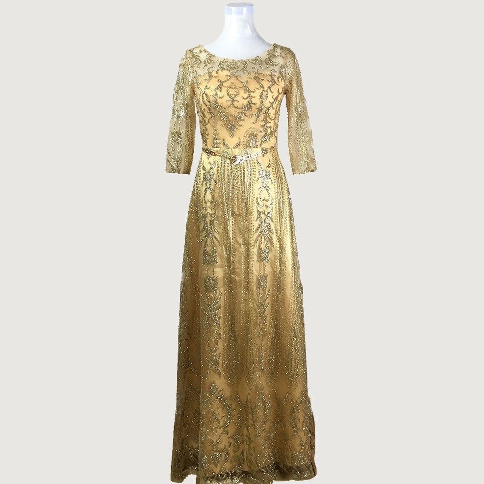Gold Sparkly Sequined Half Sleeve Sheer Muslim Dubai Long Evening Dresses with Sash Vestido De Festa