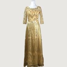 Gold Sparkly Pailletten Halbe Hülse Sheer Muslimischen Dubai Lange Abendkleider mit Schärpe Vestido De Festa Formale GownsGT79
