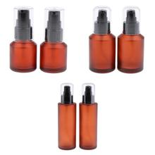 Lots 6x Refillable Containers,Cosmetic Spray Dispenser,Amber Glass Bottle,Pump Dispenser Lotions Bottles