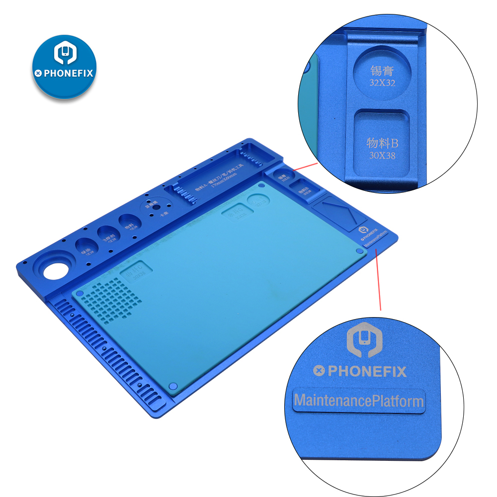 PHONEFIX Multifunctional Aluminum Alloy Pad Microscope Fixed Base Soldering Mat Mobile Phone PCB Repair Pad Maintenance Platform