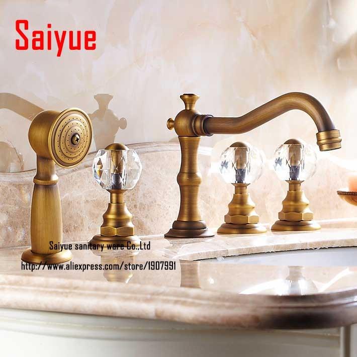 Shop Victorian Crystal Widespread Bathroom Faucet: Luxury 3 Crystal Handles Bath Tub Widespread 5pcs Shower Faucet Antique Brass With Spray Shower