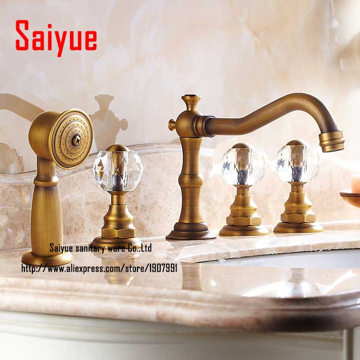 Luxury 3 crystal handles Bath Tub Widespread 5pcs Shower Faucet antique brass with spray shower