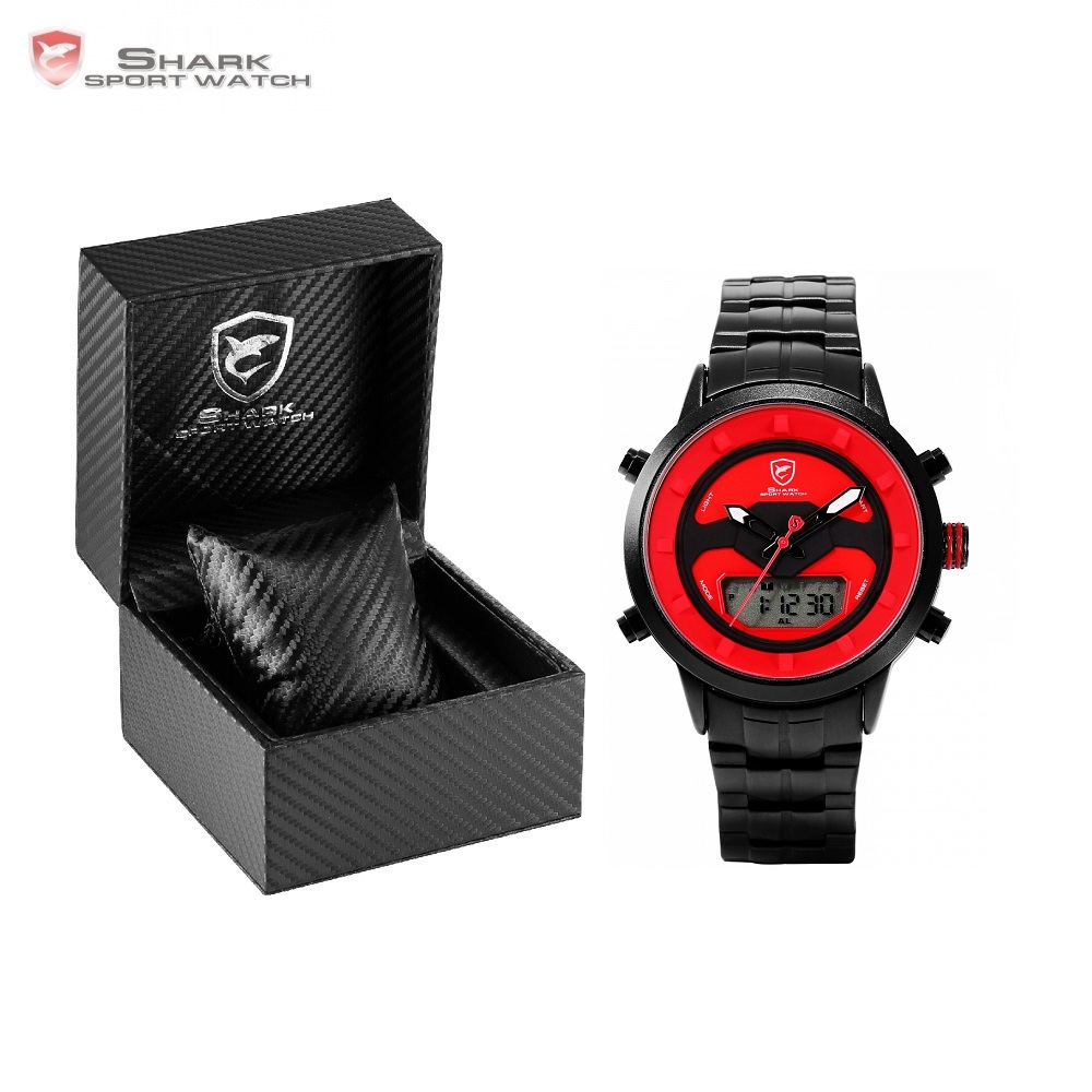 Luxury Leather Box Requiem Shark Sport Watch Dual Time LCD Digital Date Stopwatch Quartz Steel Strap Mens Wristwatch /SH551-555 brand new ohsen rectangle dial digital dual time lcd mens date alarm stopwatch analog quartz sport leather wrist watch ohs034