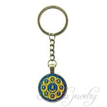 Wholesale Lotus Throne Key Chain Ring Vintage 7 Chakra Symbols Pendant Yoga Jewelry Zen Meditation Keychain Accessories