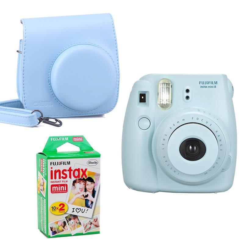 Prix pour Fujifilm Instax Mini 8 Instant Impression Numérique Caméra Avec Twin Pack Film Photo Papier Et Caméra Protection Cas Sac
