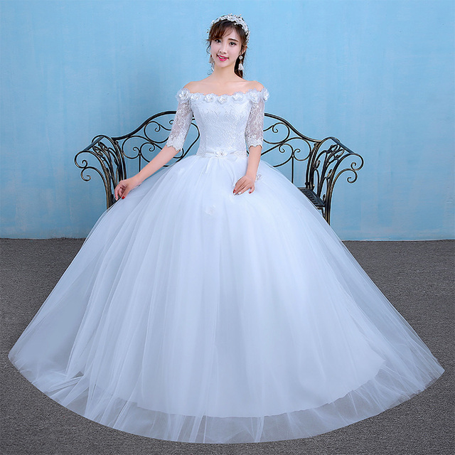 Luxury Princess Ball gown Wedding Dress Sexy Boat neck Flower owns