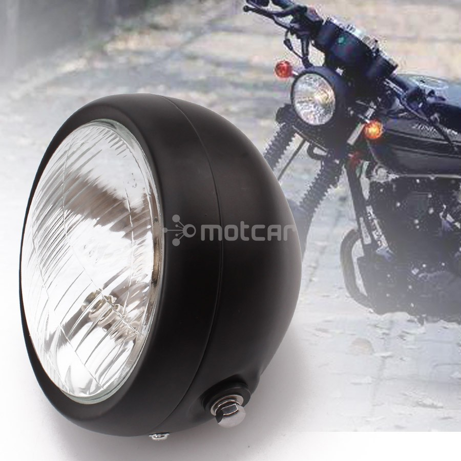 "Black billet motorcycle 7/"" headlight Harley chopper cafe racer bobber custom"