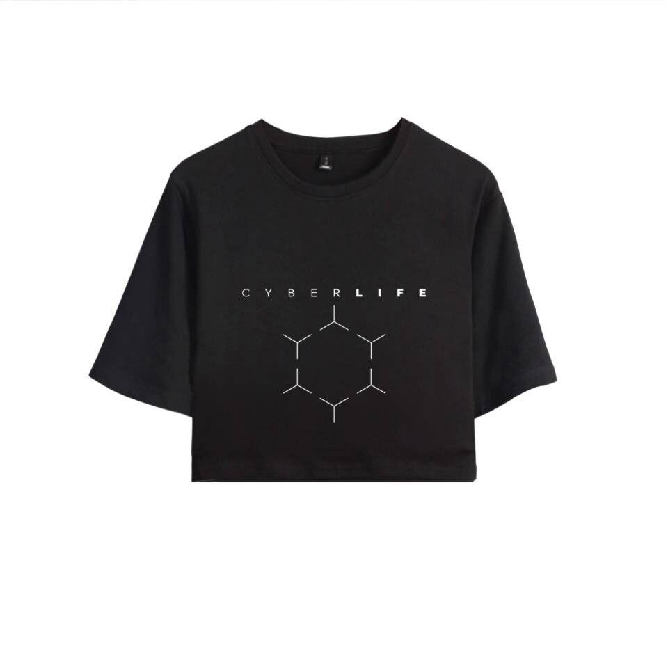 2018 New Detroit Become Human T shirt Hot Game 100% Cotton Short Sleeve T-shirt Summer Casual Tshirt Women Sexy Crop Top Clothes