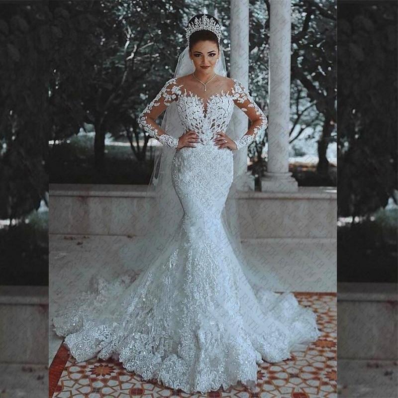 Vestidos de Novia Sexy Long Sleeves Lace Wedding Dress 2018 New See Through Back Lace Mermaid