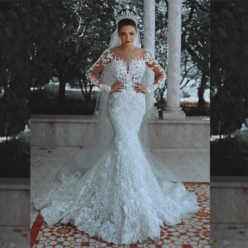 Vestidos de Novia Sexy Long Sleeves Lace Wedding Dress 2018 New See Through Back Lace Mermaid Robe De Mariage Custom Made Gowns-in Wedding Dresses from Weddings & Events    1