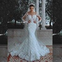 Vestidos de Novia Sexy Long Sleeves Lace Wedding Dress 2018 New See Through Back Lace Mermaid Robe De Mariage Custom Made Gowns
