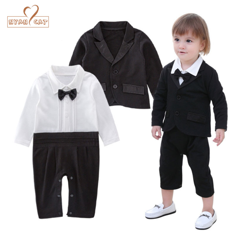 Nyan Cat Baby boys gentlemen wedding clothes suit black bow tie full sleeve romper+jacket suit party gentleman formal costume nyan cat baby boy clothes short sleeves gentleman bow tie vest romper hat 2pcs set outfit jumpsuit rompers party cotton costume