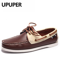 Genuine Leather Boat Shoes Mens Casual Loafers British Style Breathable Driving Shoes Lace Up Colorful Design