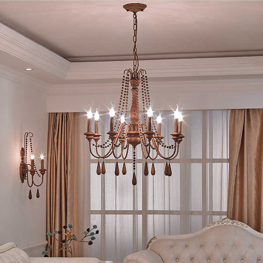 Dining Room Chandelier Wrought Iron Rustic Traditional Chandeliers Sitting  Room Candle Lights Nordic Lamp Hanging Bedroom Lamp