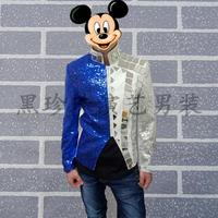 Blue men suits designs masculino homme terno stage costumes for singers men sequin blazer dance clothes jacket style dress